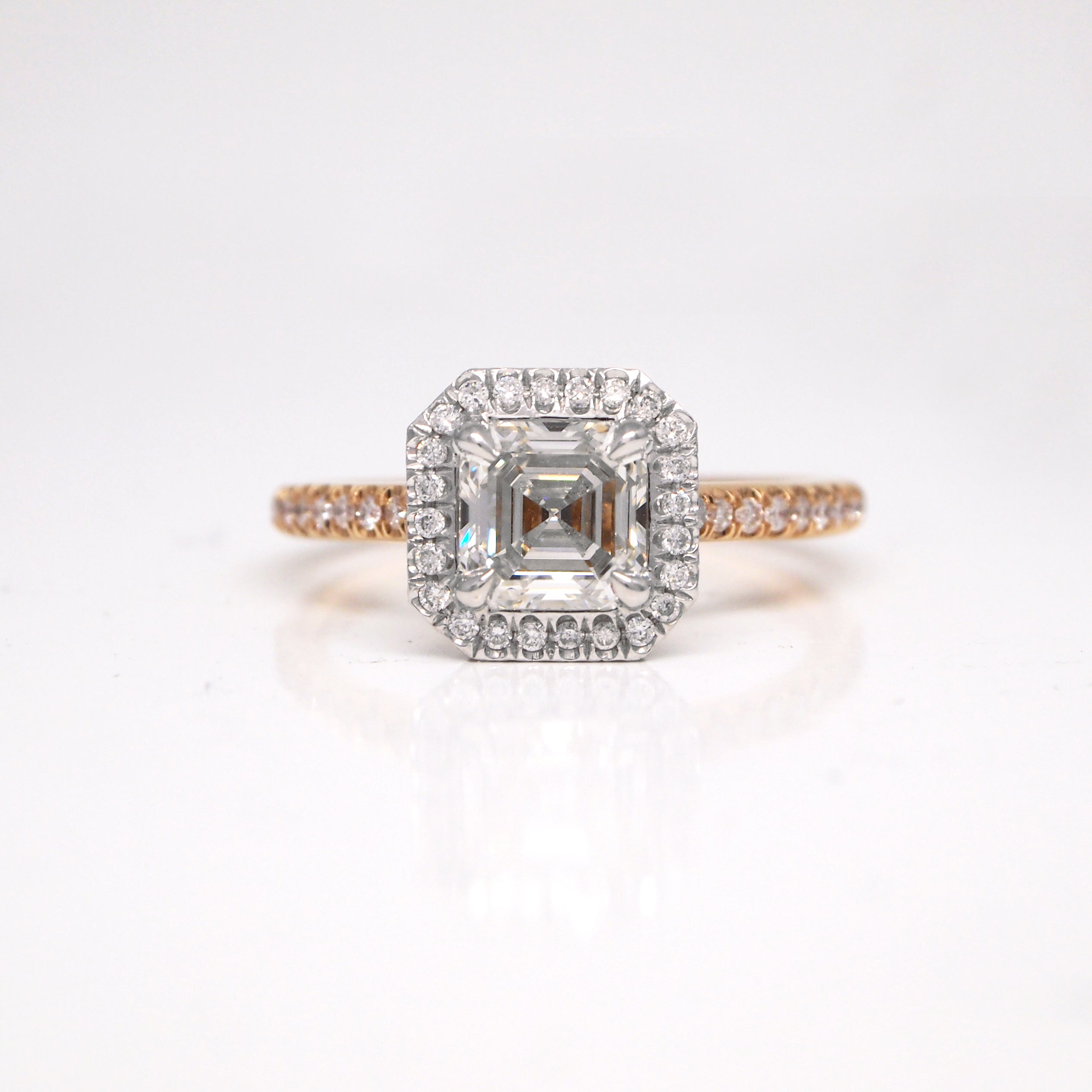diamonds platinum fire crescent page white type glacier ring bridal engagement gold rose