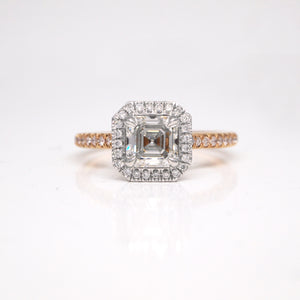 Platinum and 18K Rose Gold Diamond Engagement Ring