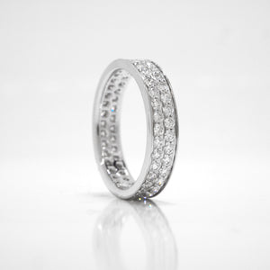 18K White Gold Double Pave-Set Diamond Eternity Band
