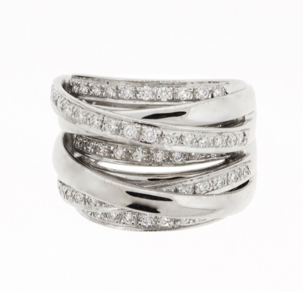 White Gold Diamond Band with 5 Rows of Diamonds