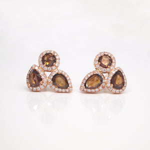 14K Rose Gold Rose-Cut Cognac Diamond Earrings