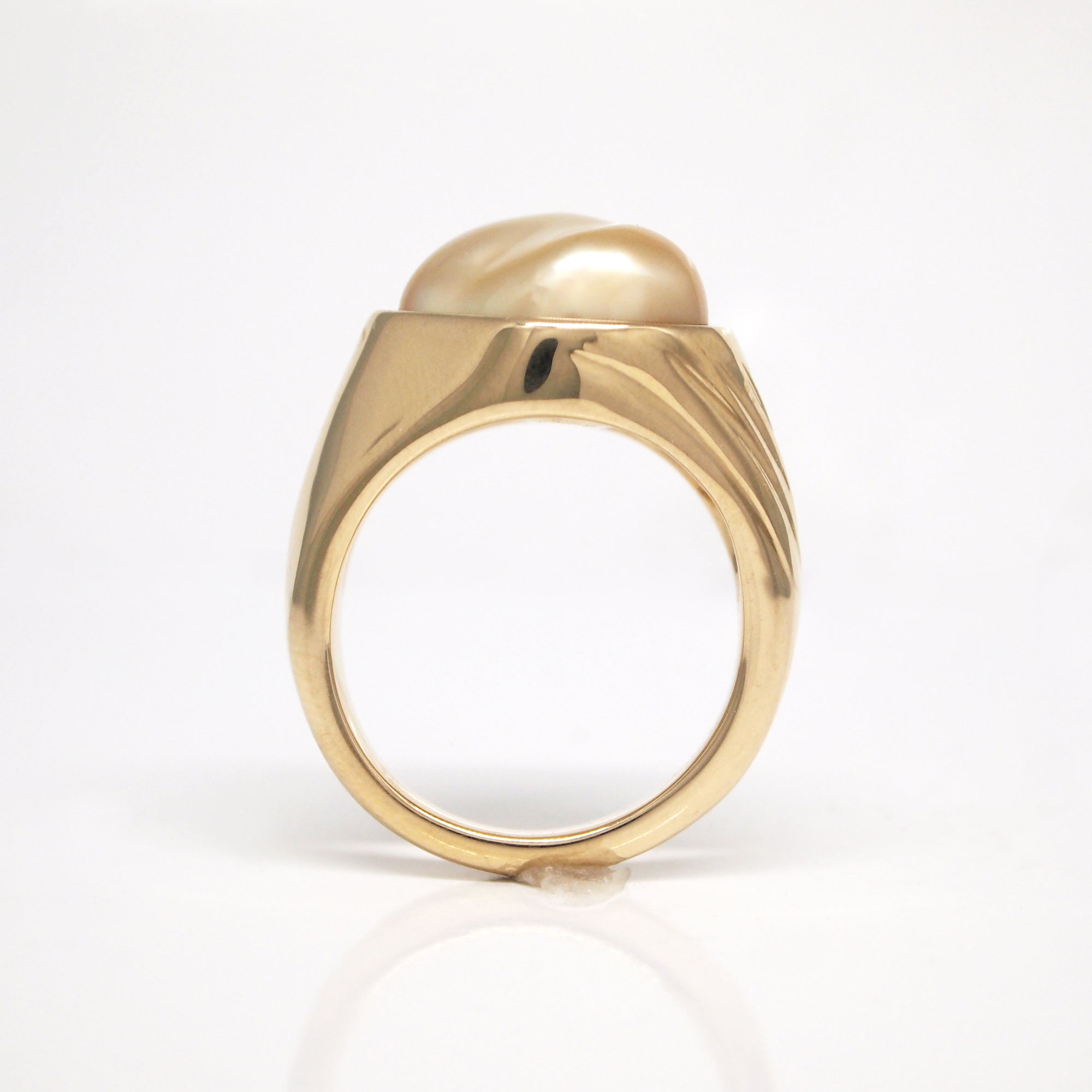 14K Yellow Gold Golden Keshi Pearl Ring