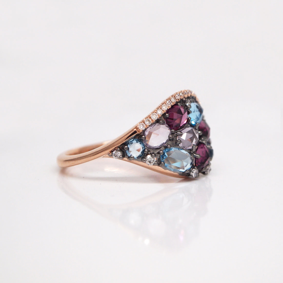 14K Rose Gold Amethyst, Rhodolite, Topaz, and Diamond Ring