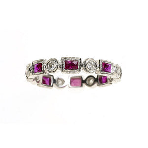 14K White Gold Pink Sapphire And Diamond Eternity Band