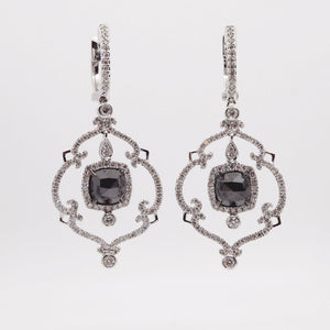 14K white gold earrings with 2 rose-cut black diamonds weighing a total of 2.35 carats, and brilliant white diamonds