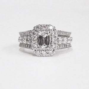 Christopher Designs Crisscut Emerald Cut Diamond Engagement Ring