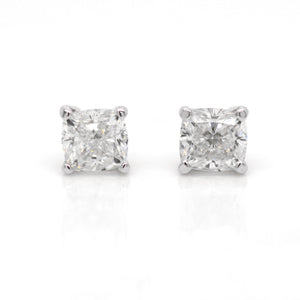 Lazare Kaplan 14K White Gold Cushion Diamond Earring Studs