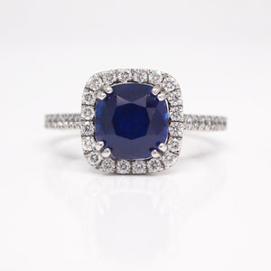 Platinum 3.27ct Cushion Sapphire Diamond Halo Engagement Ring