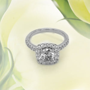 14K White Gold 0.90ct Diamond Engagement Ring With Square Halo