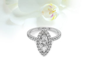 14K White Gold 1.01ct Marquise Diamond Halo Engagement Ring