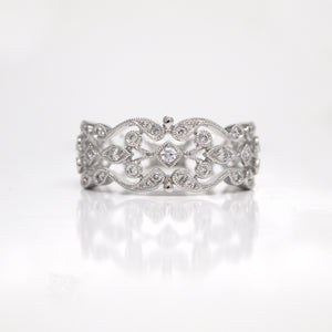 14K White Gold Diamond Filigree Band