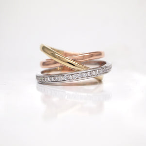 14K White, Yellow, and Rose Gold Diamond Twist Band