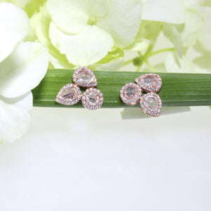 14K Rose Gold Rose Cut Diamond Earrings
