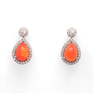 18K White Gold Rare Mexican Fire Opal And Diamond Earrings