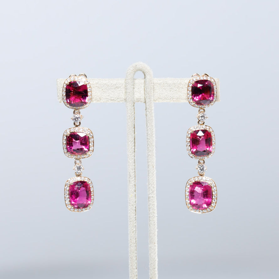 One Of A Kind 18K Rose Gold Rare Rubellite Garnet and Diamond Earrings