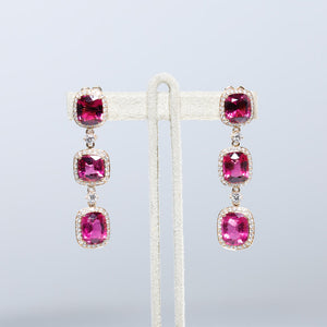 One Of A Kind 18K Rose Gold Rare Rubellite and Diamond Earrings