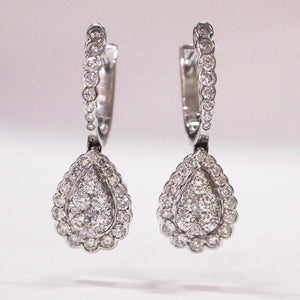 14K white gold pear-shaped pave-set diamond drop earrings with 68 brilliant-cut diamonds
