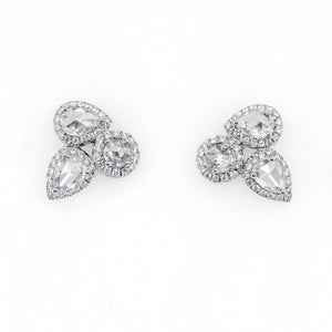 18K White Gold Rose-Cut Diamond Stud Earrings