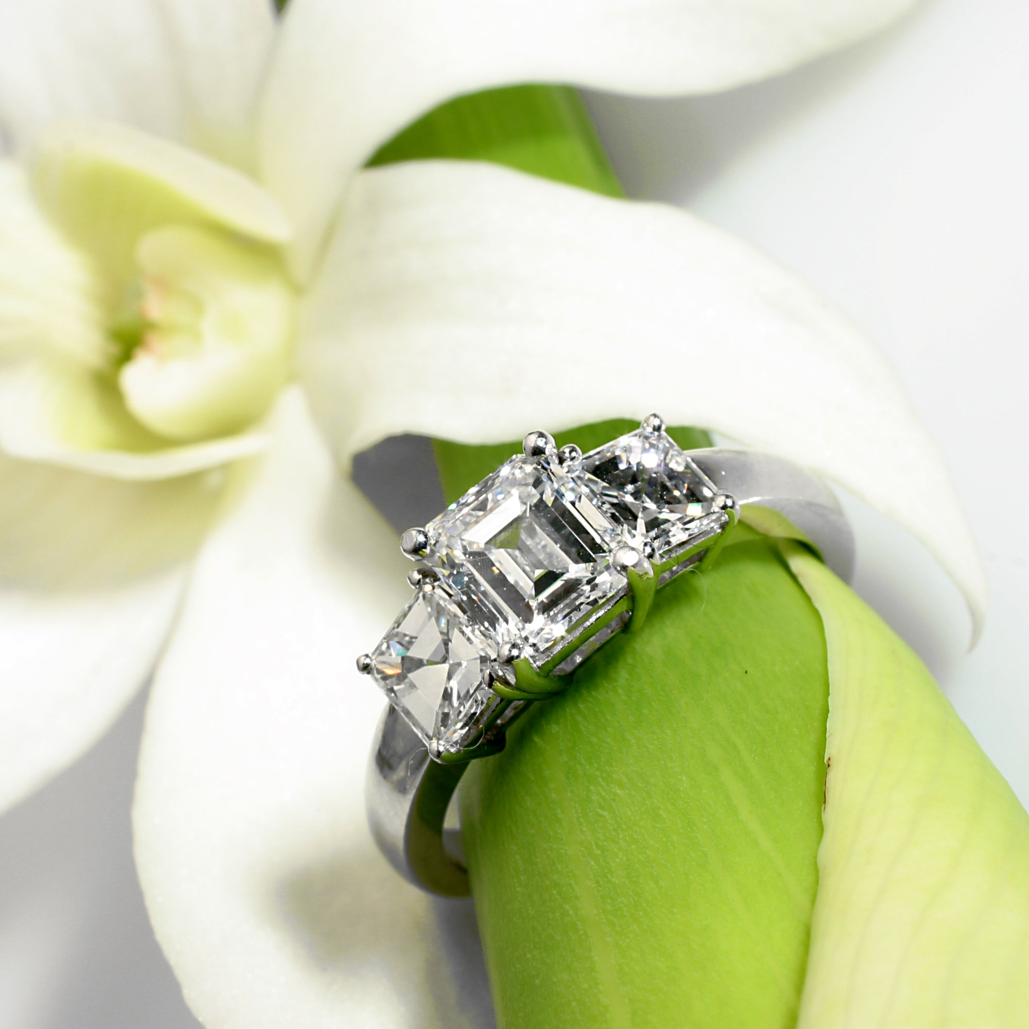 14K white gold diamond engagement ring featuring 1 emerald-cut diamond and 2 Asscher diamond side stones. Judith Arnell Jewelers.