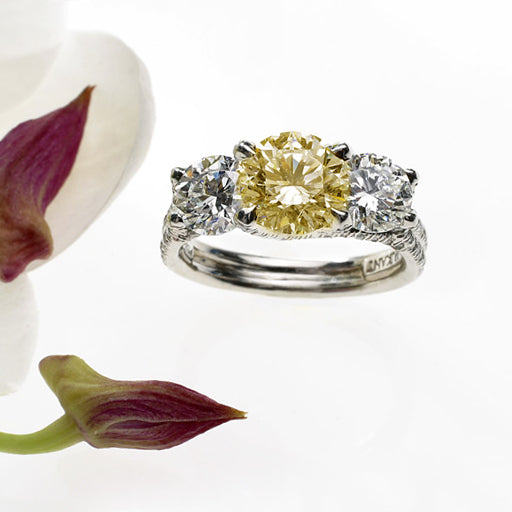 Platinum 3-Stone Yellow Sapphire And Diamond Engagement Ring