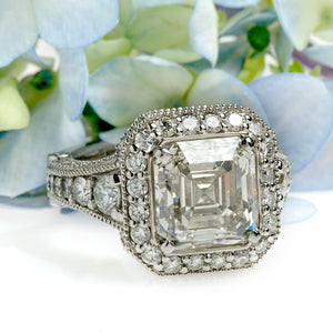 Platinum Art-Deco Asscher Diamond Engagement Ring