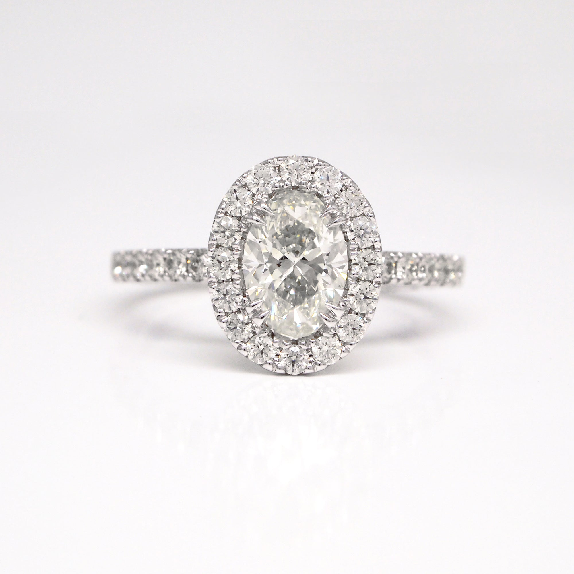 14K Oval Diamond Engagement Ring With Halo