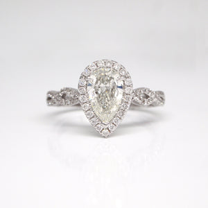 14K Pear-Shaped Diamond Twist Engagement Ring With Halo