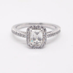Christopher Designs platinum engagement ring with one Crisscut emerald cut diamond and 44 round brilliant diamonds