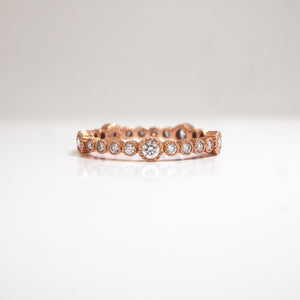 14K Rose Gold Diamond Milgrain Eternity Wedding Band