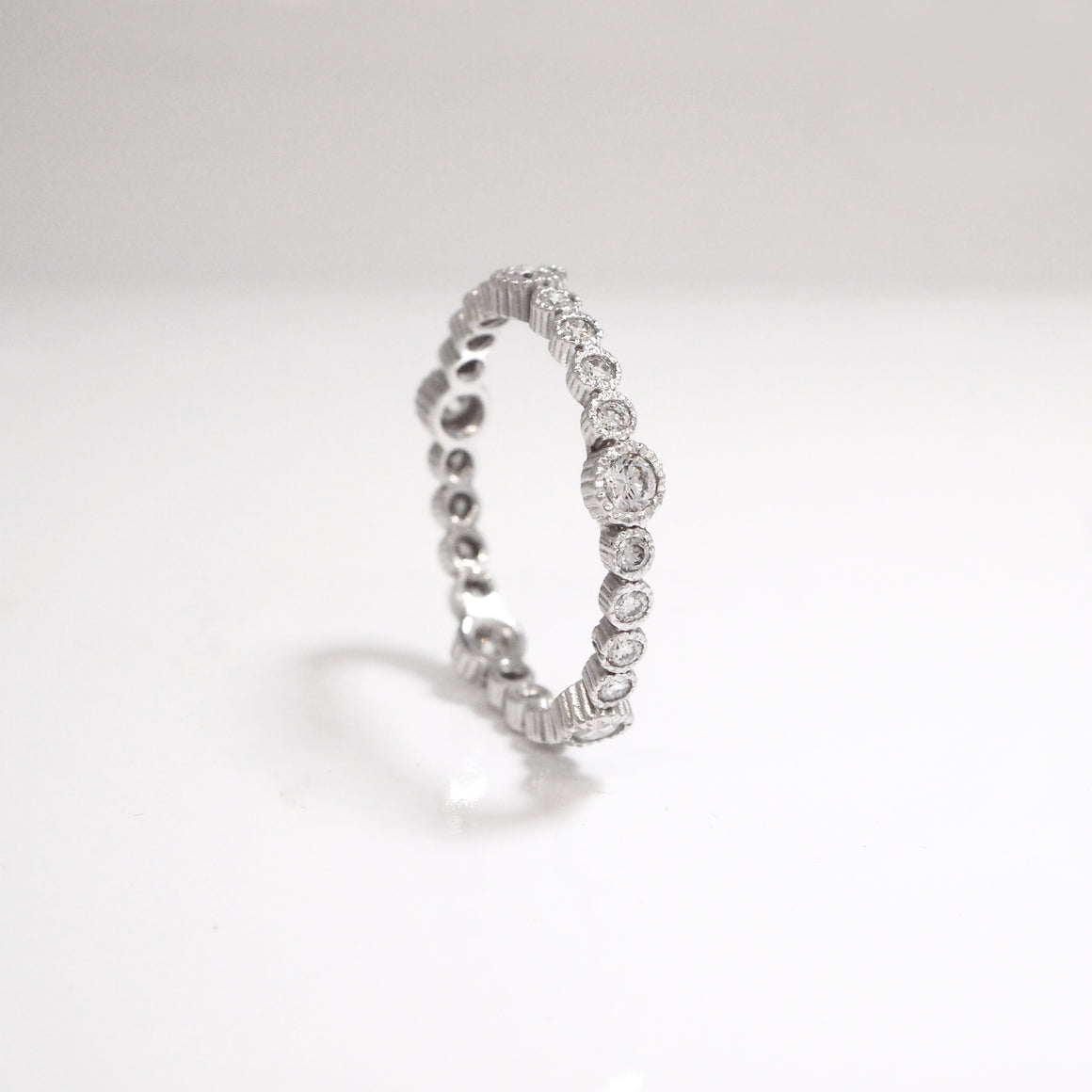 14K White Gold Diamond Milgrain Eternity Wedding Band