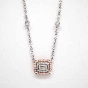 14K Rose And White Gold Emerald-Cut Diamond Necklace With Halo