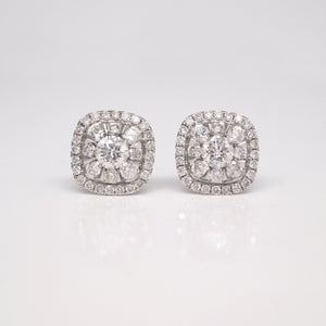 14K White Gold Cushion Shaped Diamond Earrings
