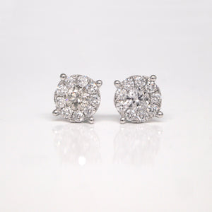 14K White Gold Invisible-Set Diamond Stud Earrings