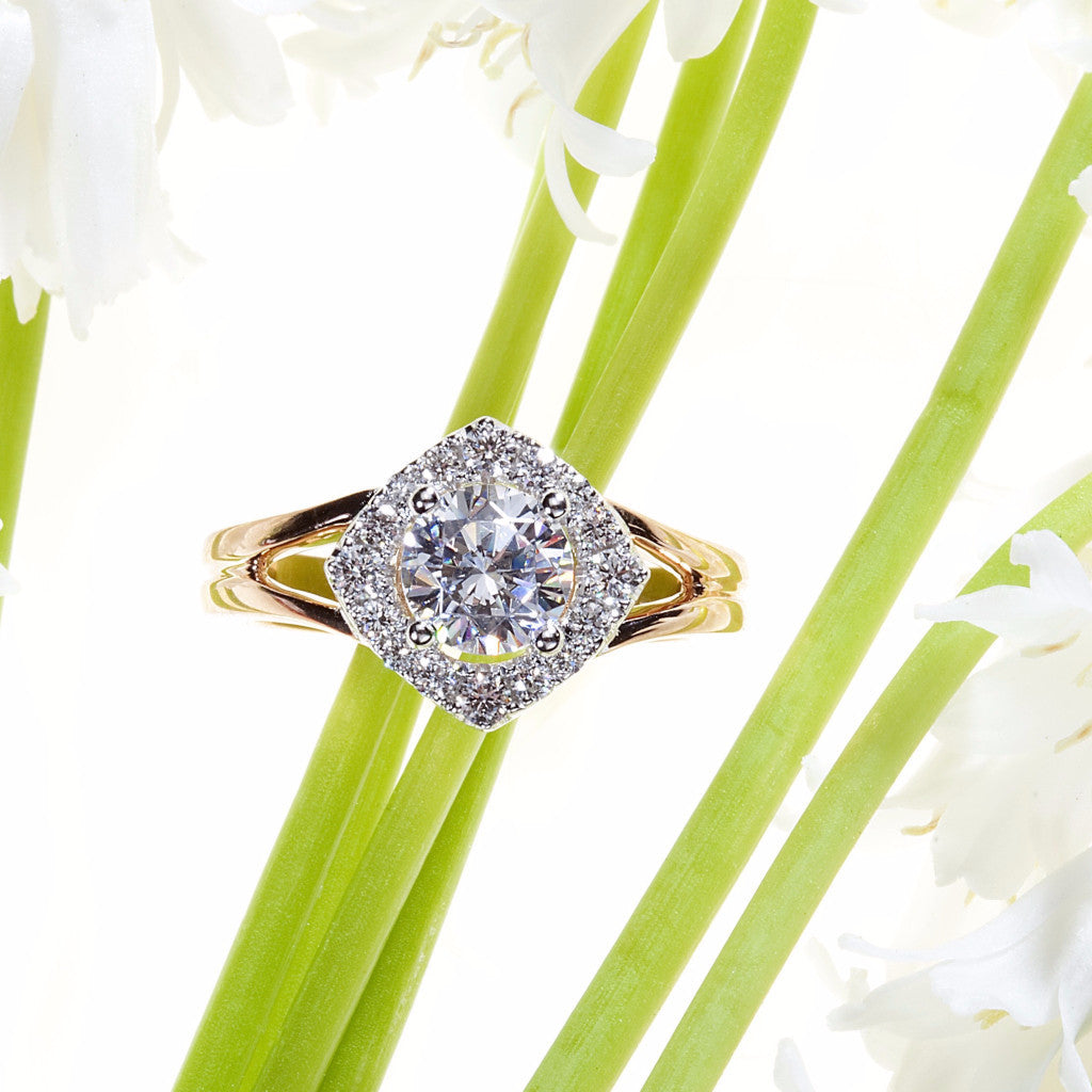18K pink and white gold semi-mount engagement ring with 16 full cut diamonds