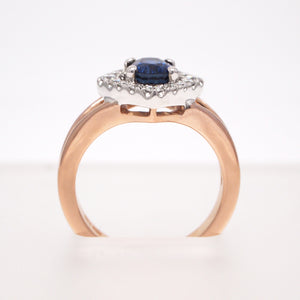 18K Pink And White Gold Sapphire Engagement Ring With Diamond Halo
