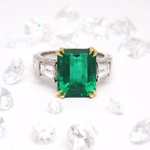 Custom Designed Emerald And Diamond Ring