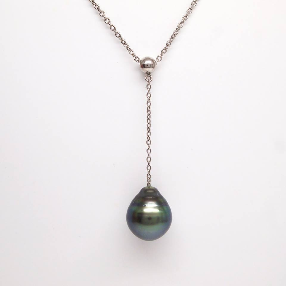 Sterling Silver Tahitian Pearl Y Necklace