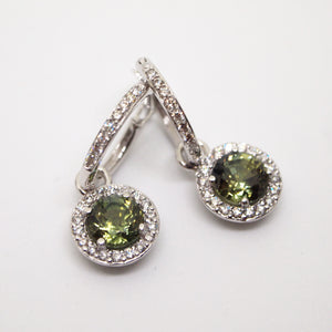 Handmade 18K White Gold Natural Unheated Green Sapphire And Diamond Huggie Earrings