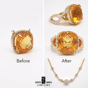 A citrine necklace custom designed into a citrine and diamond ring and diamond necklace