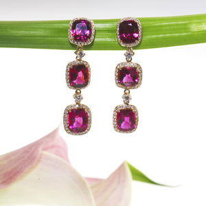 One Of A Kind 18K Rose Gold Rare Rubelite and Diamond Earrings