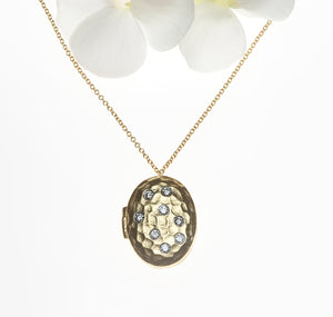 14K Yellow Gold Diamond Locket Necklace