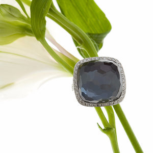 Black Hematite, Quartz, And Pave Diamond Ring