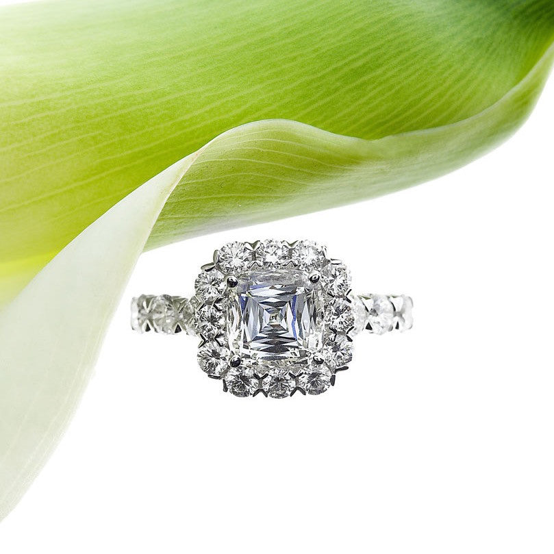 Christopher Designs white gold diamond engagement ring with cushion crisscut centerstone and brilliant cut diamonds