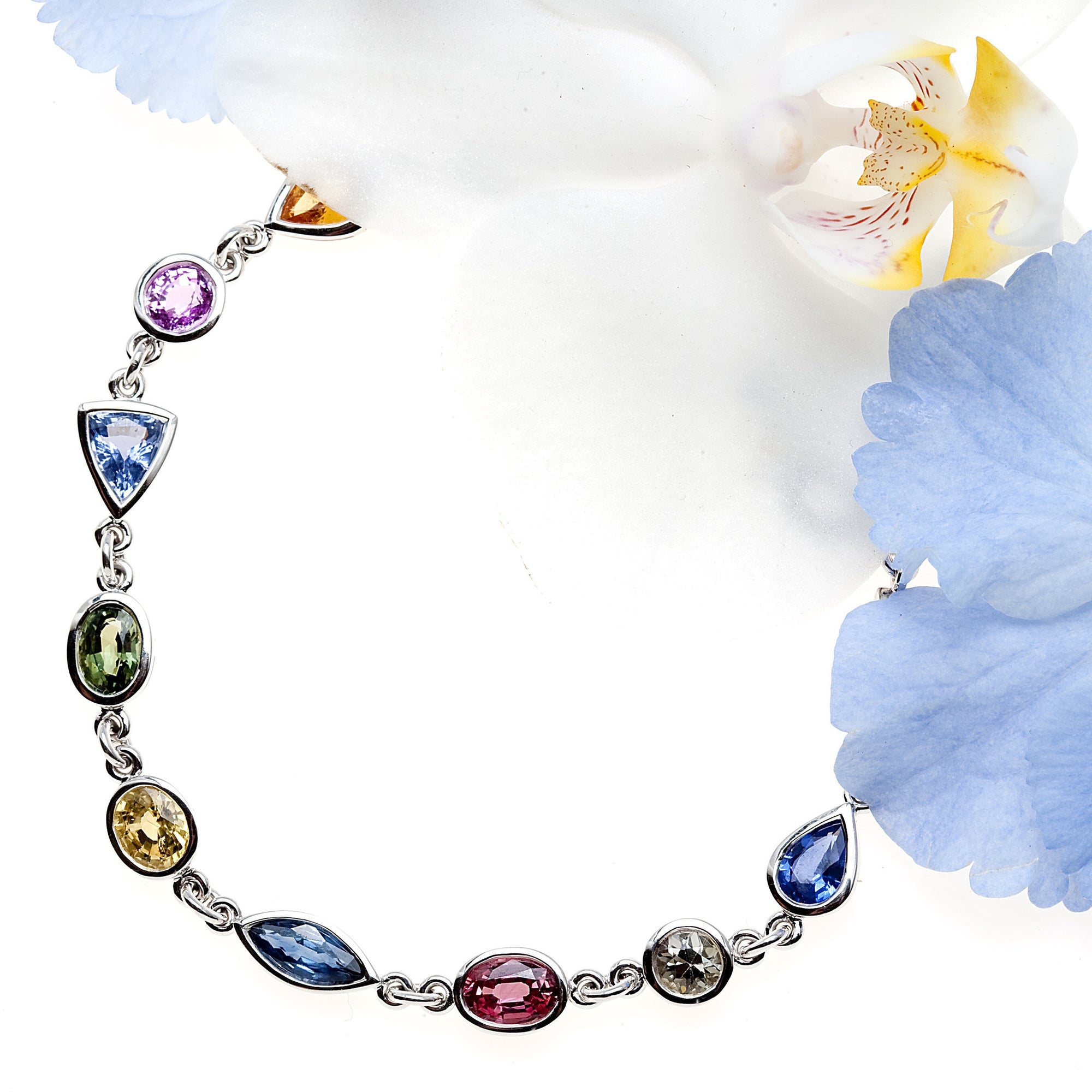 Mixed fancy-colored sapphire bracelet