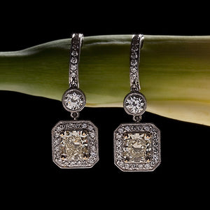 White Gold Yellow Diamond Drop Earrings