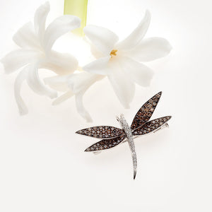 18K white gold dragonfly brooch/pendant pin with round chocolate diamonds and round white diamonds