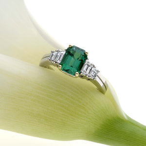 Platinum And 18K Yellow Gold Columbian Emerald and Diamond Ring