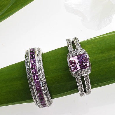 Platinum Pink Sapphire And Diamond Eternity Band