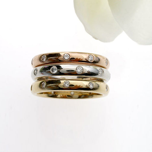 14K gold flush-set wedding or anniversary band with round diamonds