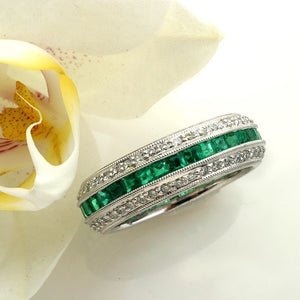Platinum Emerald And Diamond Eternity Wedding Or Anniversary Band